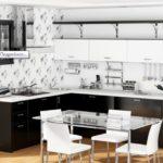 цвет-черно-белый, стиль-модерн, угловая, кухня Анжела