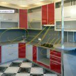 цвет-красный/серый, стиль-модерн, угловая, кухня Модерн М47