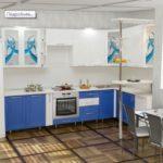 цвет-синий/белый, стиль-модерн, угловая, кухня Катрина