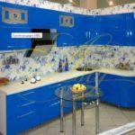 цвет-синий, стиль-модерн, угловая, кухня Модерн М01