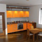 цвет-оранжевый, стиль-модерн, угловая, кухня Карина
