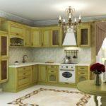 Цвет-оливковый, стиль- классика, тип- угловая, кухня Изабелла